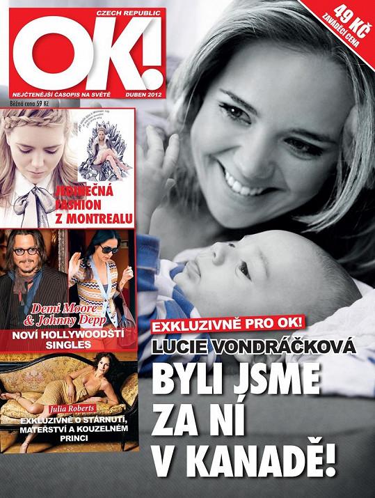 Lucie Vondráčková se synem na titulu společenského měsíčníku.