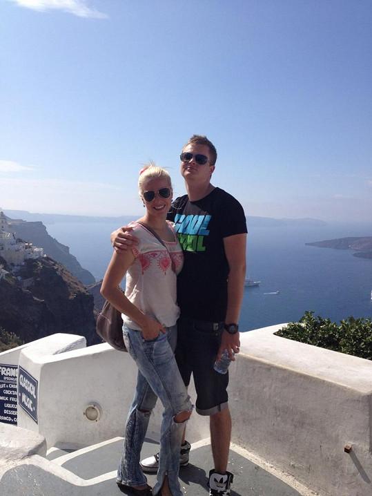 Kateřina a Kazma na Santorini.