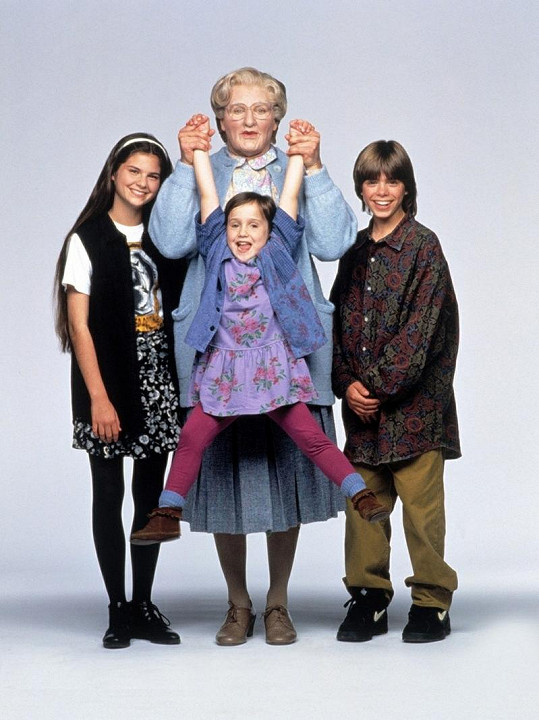Robin Williams jako Mrs. Doubtfire.