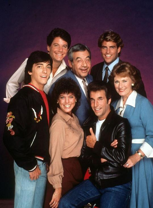 Hlavní hvězdy seriálu Happy Days. Erin Moran vlevo dole.