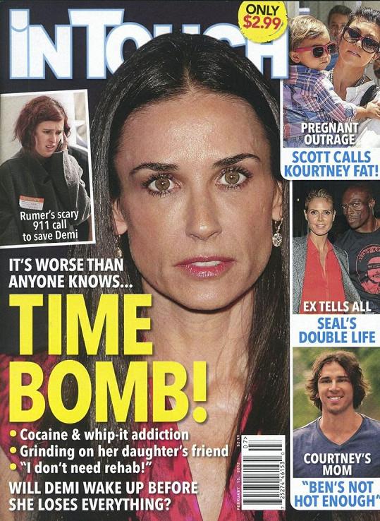 """Magazín In Touch s Demi Moore na titulce a označením """"časovaná bomba""""."""