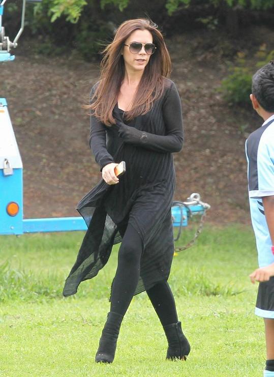 Těhotná Victoria Beckham.