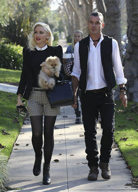 Gwen Stefani s Gavinem Rossdalem a jejich pejskem.