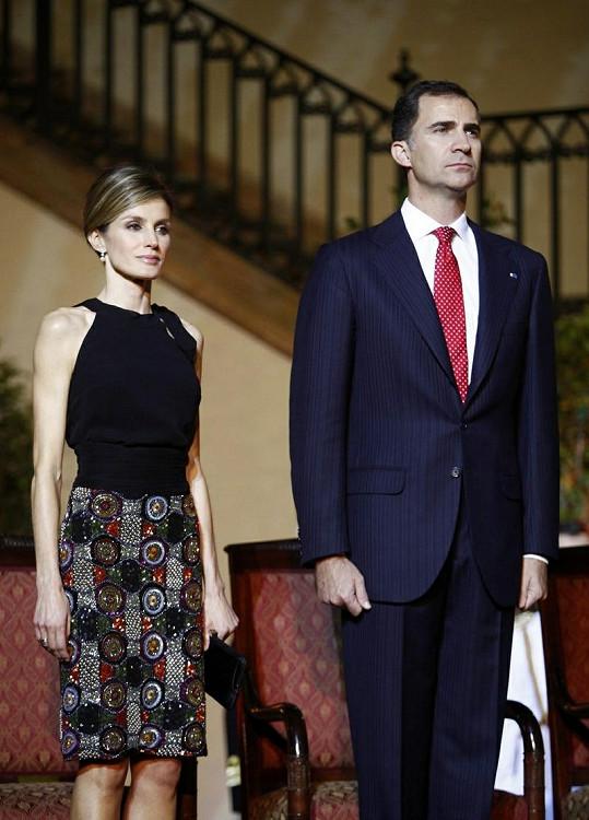 Letizia s manželem Filipem při návštěvě Chile.