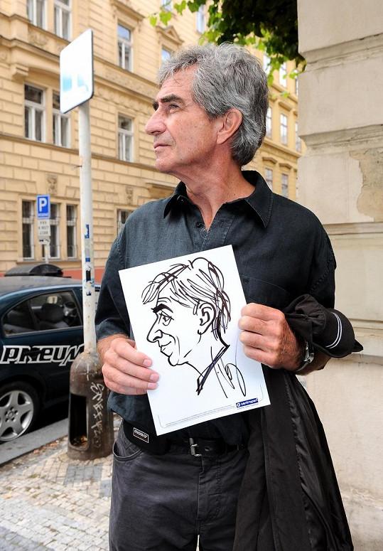 Jiří Štědroň si nechal nakreslit svoji karikaturu.