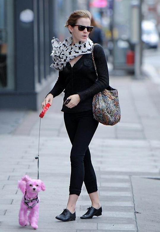 Emma Watson s narůžovo obarveným pejskem.