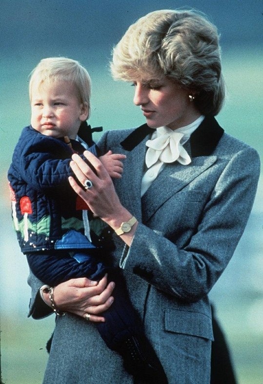 Malý William s princeznou Dianou.
