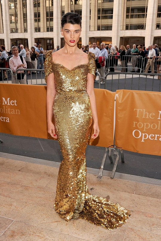 Modelka před Metropolitní operou v New Yorku.