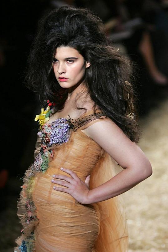 Crystal Renn vynikala na přehlídkových molech mezi ostatními dívkami ženskými tvary.