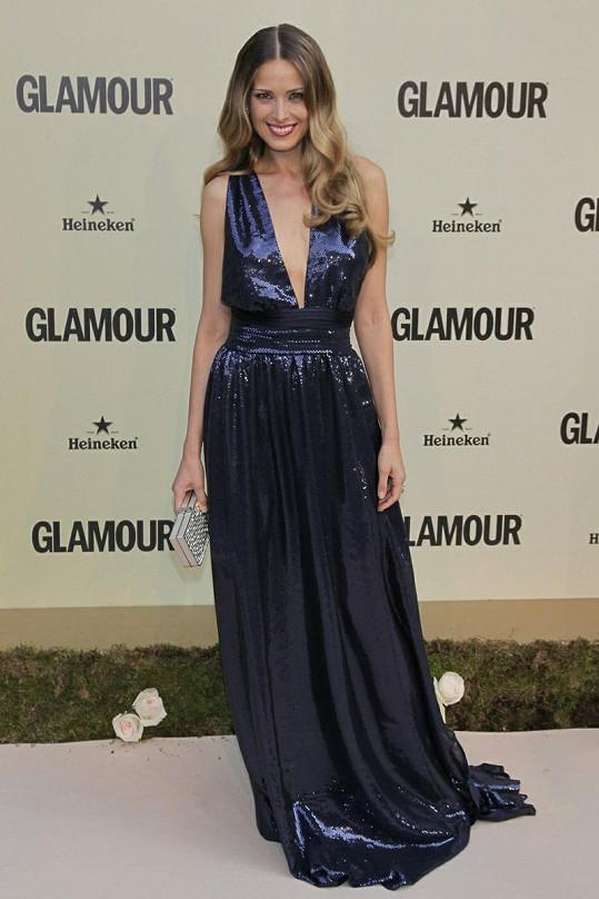 Petra Němcová v Madridu na večírku časopisu Glamour.