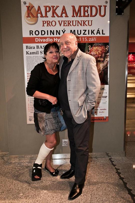 Dáda Patrasová s manželem Felixem Slováčkem na představení Kapka medu pro Verunku.