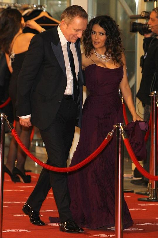 Salma s pyšným manželem Françoisem-Henri Pinaultem.