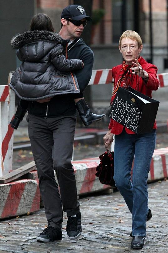 Hugh Jackman s matkou Grace a dcerkou Ava Eliot.