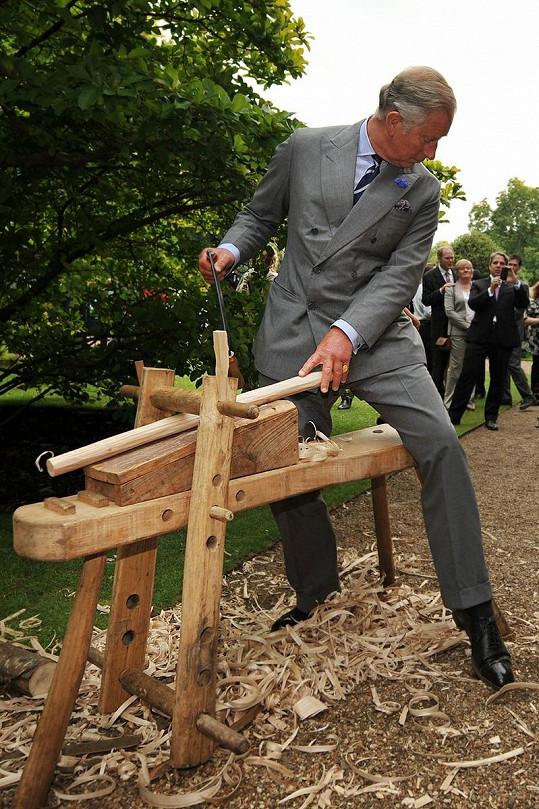 Charlesovi vůbec nevadilo, že svým řezbářským pokusem baví desítky lidí.