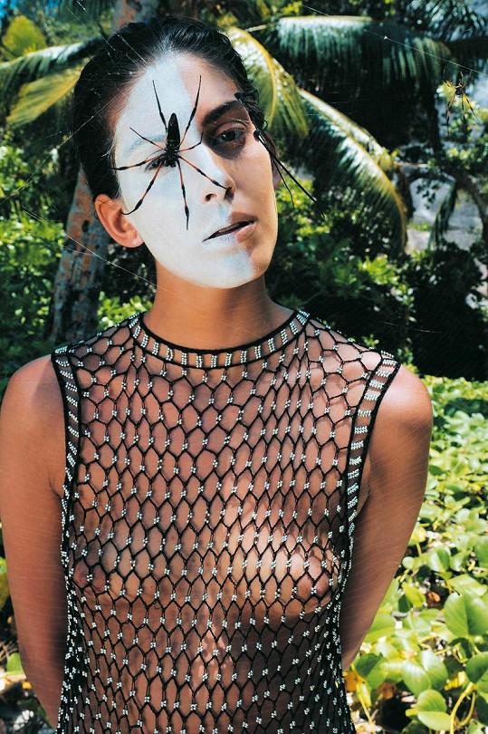 Pojítkem kalendáře byla síť, která se zobrazovala v oblečení i make -upu. Ludvík využil k focení i pavouka, kterého se Vignerová velmi bála.