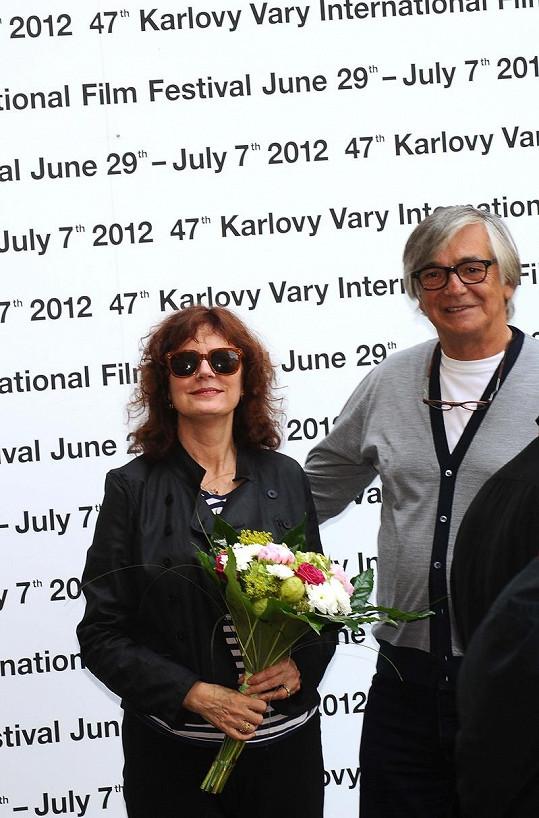 Susan Sarandon přivítal Jiří Bartoška.