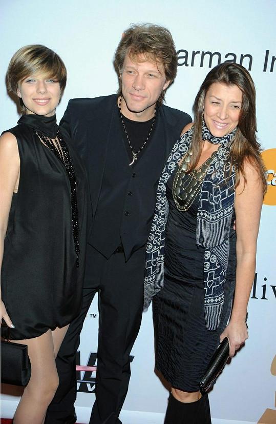 Jon Bon Jovi s dcerou Stephanií a manželkou Dorotheou.