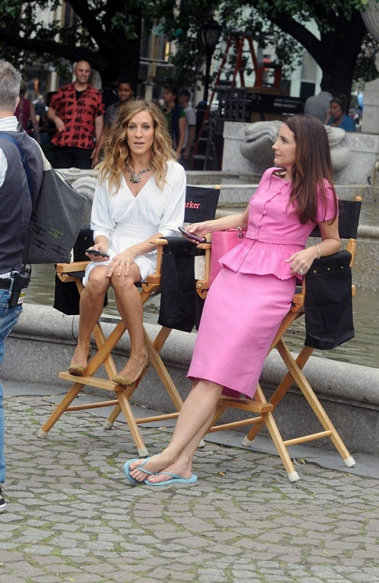 Kristin se S. J. Parker během natáčení.