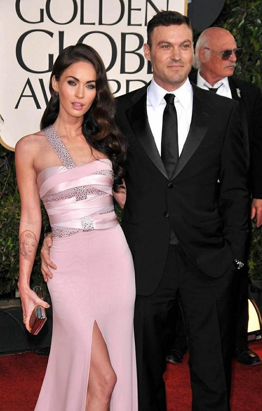 Megan a David na udílení Zlatých glóbů.