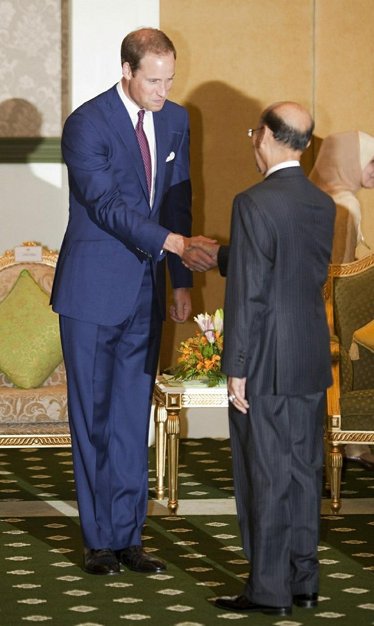 William se zdraví s malajsijským králem Abdulem Halimem.