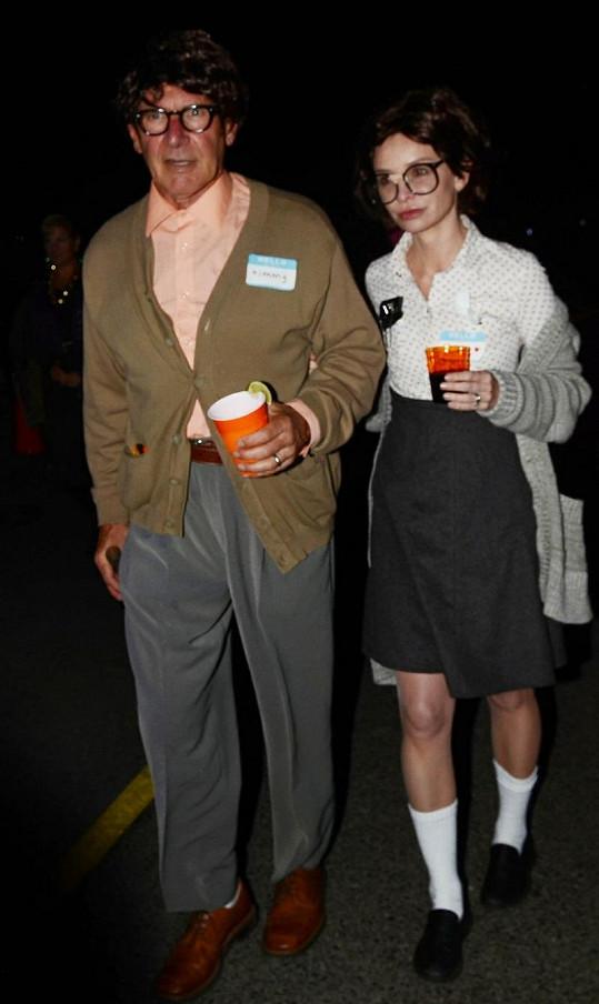Harrison Ford a Calista Flockhart v halloweenských kostýmech.