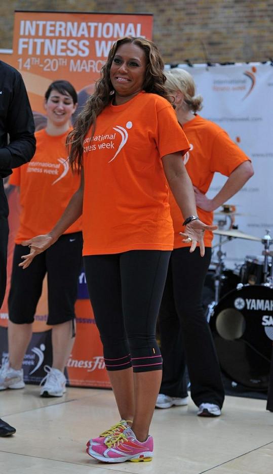 Mel B v začátcích svého cvičebního maratónu.