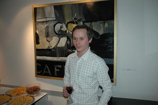Adam Novák před svým obrazem.