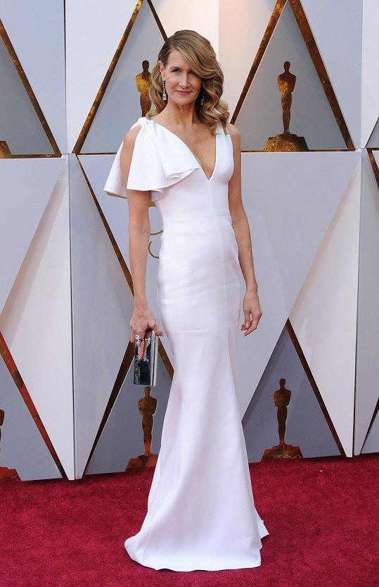 Jednoduché, ale působivé. Takové jsou jak jinak než minimalistické šaty od Calvina Kleina, které měla na sobě Laura Dern.