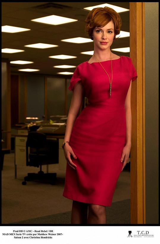 Hendricks jako Joan Holloway v cenami ověnčeném seriálu Šílenci z Manhattanu.