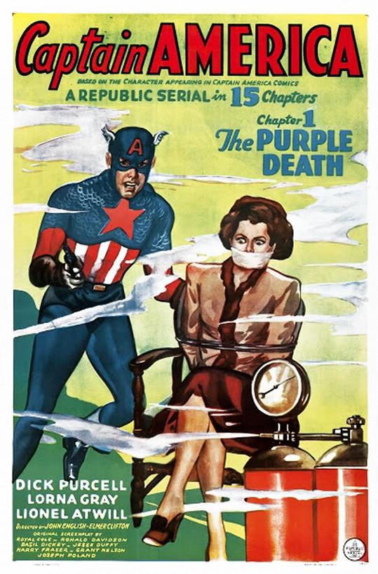 Lorna Gray na plakátu k seriálu Captain America (1944)