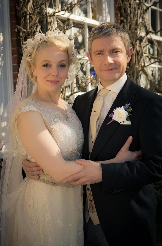 Martin s Amandou na snímku z natáčení Sherlocka Holmese