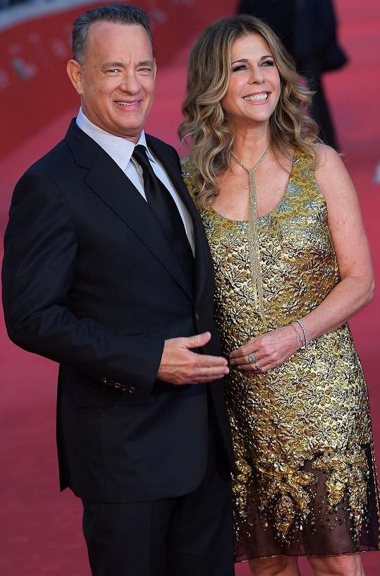 Tom Hanks a Rita Wilson na filmovém festivalu v Římě