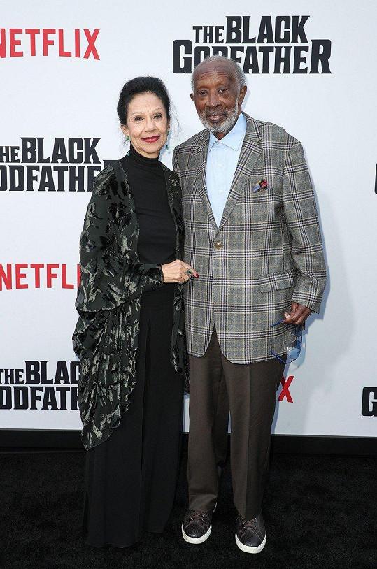 Clarence Avant s manželkou Jacqueline na premiéře dokumentu The Black Godfather