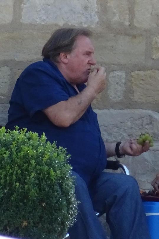 Depardieu se ve chvílích volna občerstvoval hrozny.
