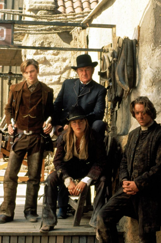 Sharon Stone, Gene Hackman, Leonardo DiCaprio a Russell Crowe ve filmu Rychlejší než smrt.