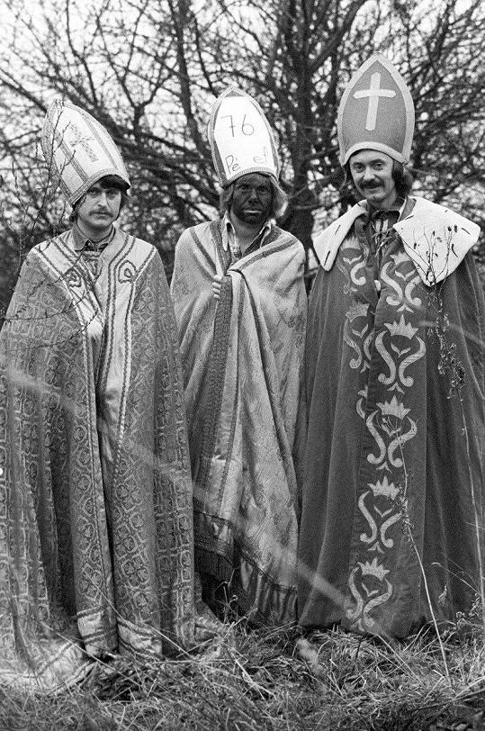 František Ringo Čech, Jiří Schelinger a František Janeček (zleva) jako tři králové