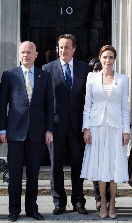 Jolie se v Londýně setkala rovněž s britským premiérem Davidem Cameronem a s bývalým ministrem zahraničních věcí Williamem Haguem.