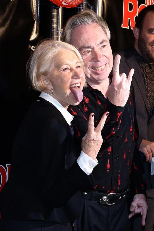 Helen Mirren a Andrew Lloyd Webber na zahajovacím večírku k muzikálu School Of Rock