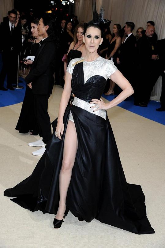 Svůj debut na Met Gala si Céline Dion prožila v asymetrickém modelu Versace, ozdobená šperky Bulgari.