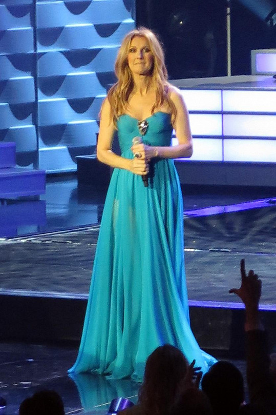 Céline během koncertu vystřídala několik nádherných modelů.