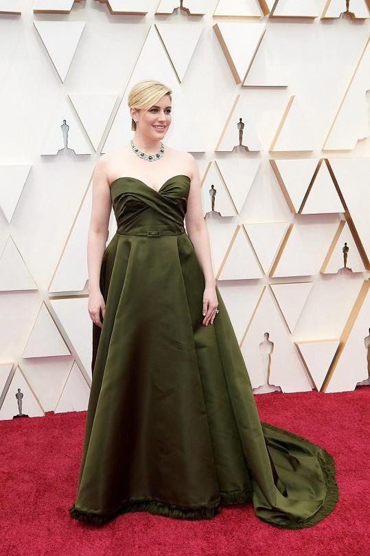 Kdo touží vypadat na nejsledovanějším večeru světa jako v závěsu? Greta Gerwig v Haute Couture modelu od Diora zřejmě ano.