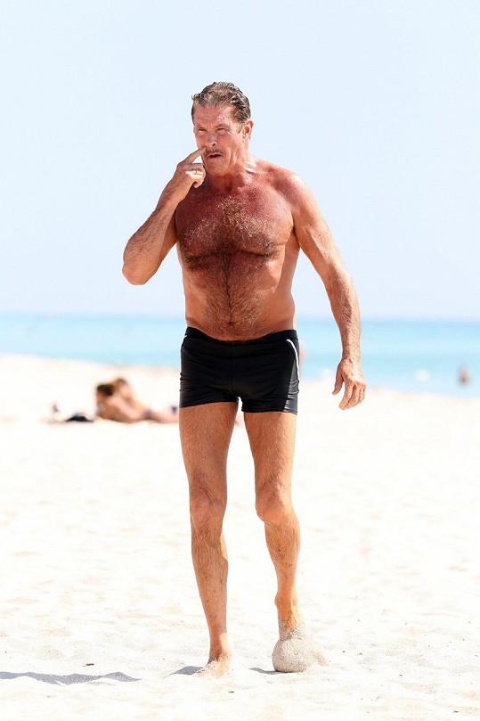 David Hasselhoff je na pláži jako doma.