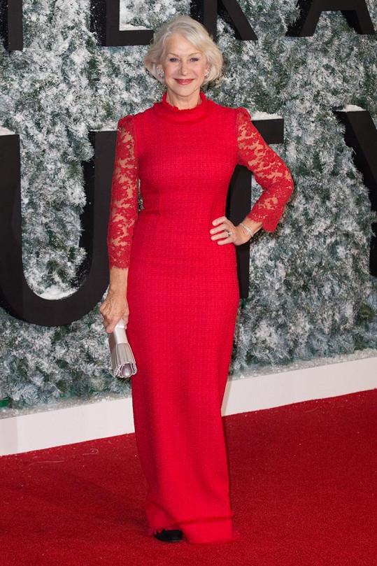 Helen Mirren na londýnské premiéře filmu Collateral Beauty: Druhá šance