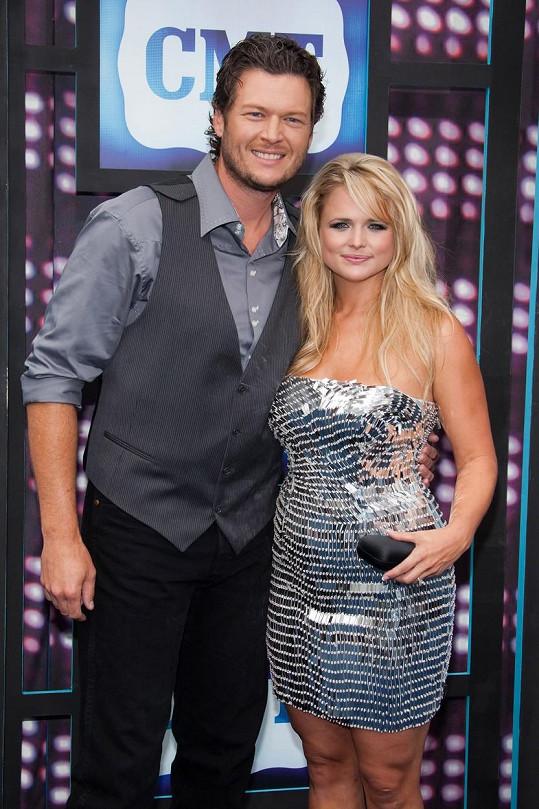 Blake se svou první manželkou Mirandou Lambert.