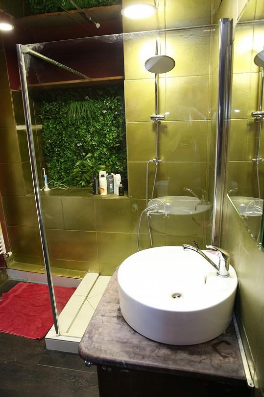 Ve sprchovém koutu je zajímavá dekorace z rostlin.