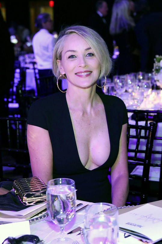 Sharon Stone v půlce března na charitativní akci Celebrity Fight Night
