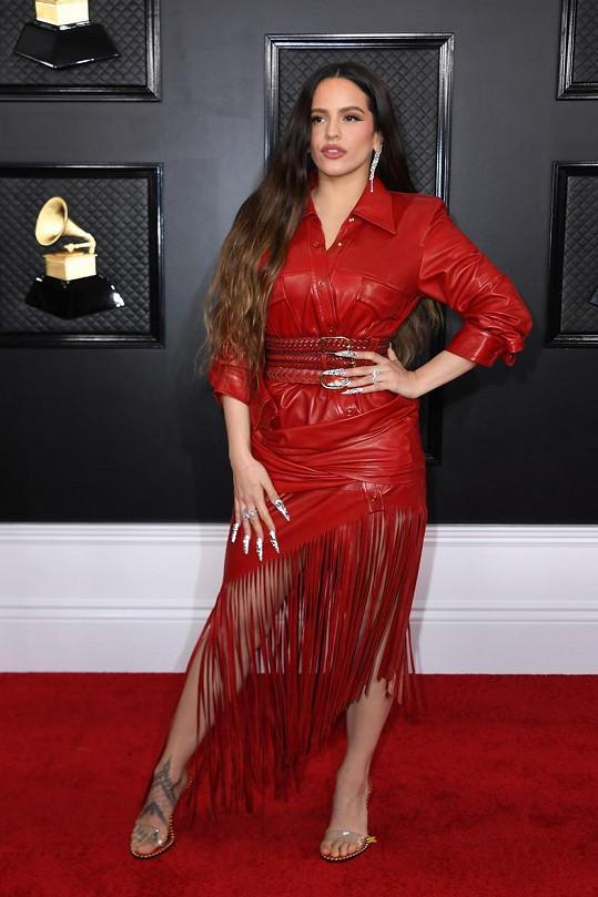 Rosalía vyjádřila svou individualitu v rudé kůži od Alexandera Wanga se sukní z kožených střapců.