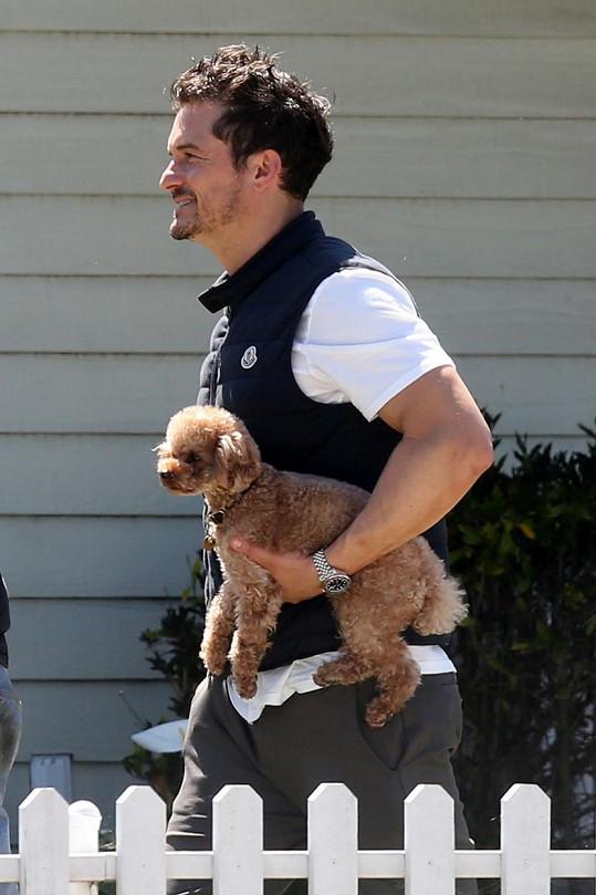 Orlando Bloom se svým milovaným psíkem Mightym