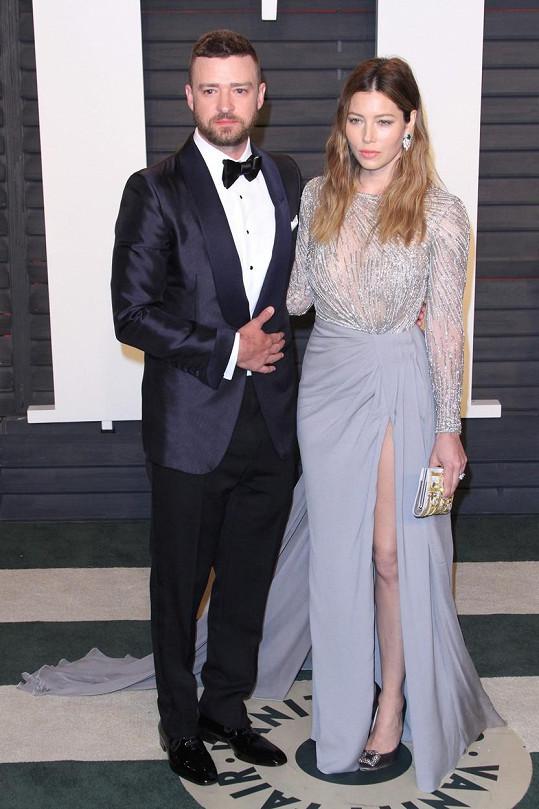 Justin Timberlake a Jessica Biel na oscarové párty