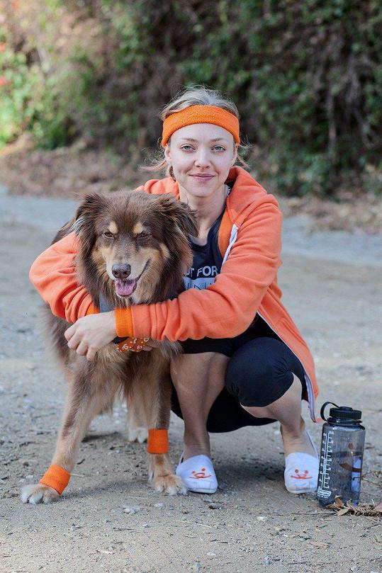 Amanda Seyfried bez svého psa Finna nedá ani ránu.
